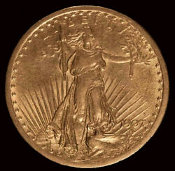 Beautiful First Year 1907 20 St Gaudens Gold Coin No Reserve Auction