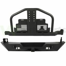 Textured Rear Bumper With Tire Carrier And Led Lights For 2007-18 Jeep Wrangler