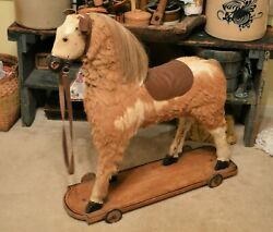 Rare Victorian Era Real Hair And Hide Ride On Pull Toy Horse Great Display 30x30