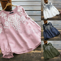 Women Cotton Embroidered Shirts Tops Summer Casual Vintage Ruffle Blouse T Shirt