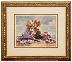 A Framed Offset Lithograph Limited Edition Beach Scene By Lucelle Raad Summer Se