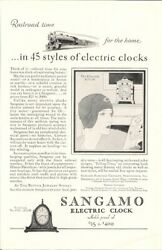 Sangamo Vintage Ad Electric Clock Railroad Time For The Home In 45 Styles
