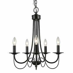 Laluz Farmhouse Black Chandelier Small 5-light Fixture With 2-layer For Dinin...