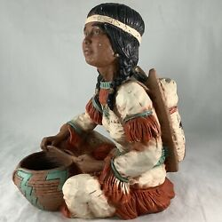 Vintage Universal Statuary Native American Indian Woman Baby Pot Statue Signed