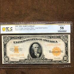 10 1922 Gold Certificate - Pcgs Banknote 58 Choice Au
