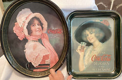 2 Vintage Drink Coca-cola Advertising Metal Oval Serving Tray 1914 Betty Girl