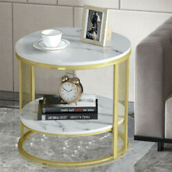 2 Tier Marble Coffee Table Contemporary Round Faux Marble Bedside Sofa End Table