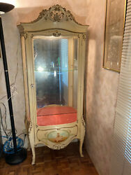 Vintage French Cabinet Glass Shelf And Mirror Hand Painted Images Local Pickup