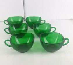 Vintage Green Depression Glass Punch Cups Emerald Forest Green Set Of 6