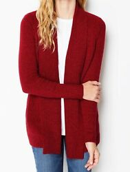 J Jill Sweater Jacket Xl Red Burgundy Black Open Front Topper May Fit 1x 99.00