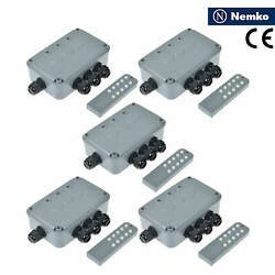5 Pack Outdoor Switch Box Ip66 Waterproof Remote Control 3-gang 15a/125vac/50hz