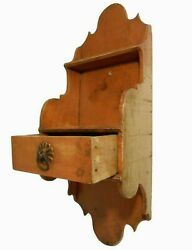 Rare Late 18th C American Chippendale Antique Salmon Pntd 1-drwr Fancy Wd Shelf