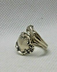Antique 1899 Wallace Sterling Silver Irving Victorian Wrap Bypass Spoon Ring 6