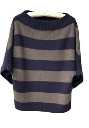 Pullover Sweater Purple Striped Dolman Sleeve Thick Cozy Sz Xs Wool