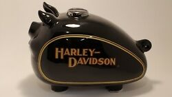 Large Mint Harley-davidson Piggy Coin Bank Glossy Black Gold 11 Inches 1982