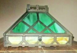 Antique Arts And Crafts Slag Glass Hanging Lamp Shade Mission Green Light Iron
