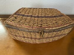 Antique Victorian Woven Wicker Sewing Basket With Assorted Items Included