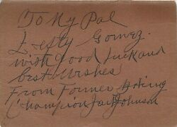 Jack Johnson Boxing Signed The Man Book Inscribed To Lefty Gomez Yankees Hof