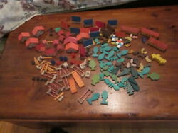 Vintage Juri Wooden Toys Village Animals Pigs Miniature Made In Western Germany