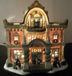 2004 Christmas Village Lighted Public Library House 2 Story Sea Haven Workbench