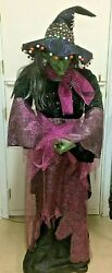 Gemmy Life Size Animatronic Halloween Witch Riding Broom Prop Horror Tested