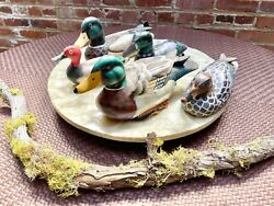 Vintage Artisan Hand Painted 4 Carved Wooden Ducks And 1 Ceramic Duck Lot Of 5