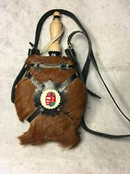 Fur Covered Canteen With Intricate Leather Work And Wood Top / Spout