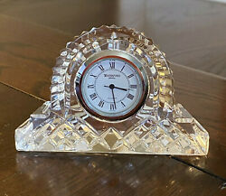 Waterford Crystal Small Cottage Mantel Clock Signed Ireland Working, New Battery