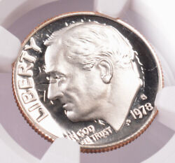Ngc 10c 1978-s Proof Roosevelt Dime Strong Clashed Dies Pf69 Uc