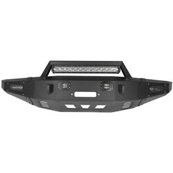 Front Rear Bumper With Led Light Winch Plate D-ring For 2010-14 Ford F-150 6.2l