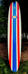 Robert August Signed 10' What I Ride Surfboard Red/white/blue