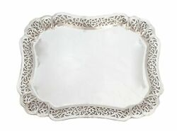 925 Sterling Silver Chased Garland Cut Out Design Border Platter Tray