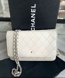 Authentic Small Chain Shoulder Bag Clutch White Quilted Flap Lambskin