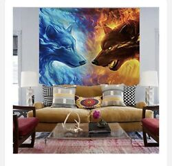 """New Ice and fire wolf tapestry wall hanging 79""""x 59""""living room Paychedelic"""