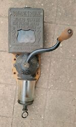 Antique Arcade Golden Rule Wall Mount Cast Iron Coffee Mill Grinder Rare