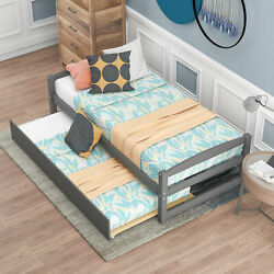 Wooden Twin Size Daybed W/ Pull-out Twin Size Trundle Sleepover Captainand039s Bed Us