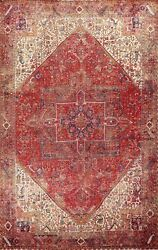 Semi-antique Geometric Oriental Traditional Area Rug Hand-knotted Wool 10x13 Ft