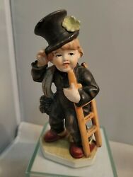 Friedel Germany Porcelain Figurine Chimney Sweep Boy With Top Hat Us-zone