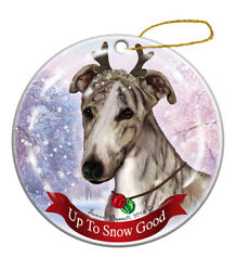 Holiday Pet Gifts Fawn Brindle Greyhound Dog Porcelain Christmas Ornament