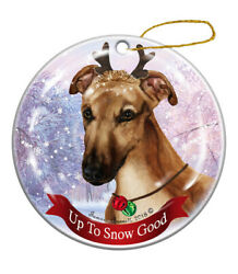 Holiday Pet Gifts Greyhound Fawn Dog Porcelain Christmas Ornament