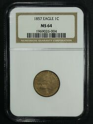1857 Flying Eagle Cent Ngc Ms 64