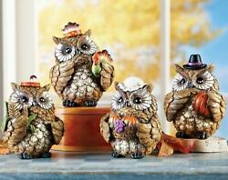 4-pc Owls First Thanksgiving Figurines Fall Harvest Pilgrims And Indians 4h New