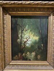 Painting Antique School French Of 19ème Century - The Bathers In The Under Wood