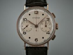 Eterna Chronograph From 1941 Triple Signed Cal.703e Valjoux22 14ct Gold