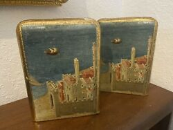 Vintage Italian Florentine Gold Gilded Wood #x27;By The Sea#x27; Bookends Made in Italy