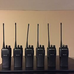 6 Refurbished Motorola Cp200 Uhf 16 Channel Radios W/ Gang Charger And New Acc