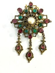 Antique Austro-hungarian Silver Brooch -pendant Garnets And Green Past Gilded.
