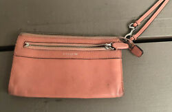 """Coach Small Leather Wristlet Women#x27;s Pink used 7.5X4.50"""" $22.00"""