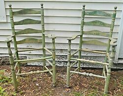 Pair Antique Late 19th Century 4 Slat Sausage Turned Armchairs In Green Paint