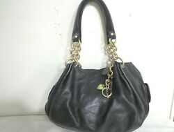 Juicy Couture Black Soft Leather Hearts Keys Charm Tote Bag Chain Straps Purse